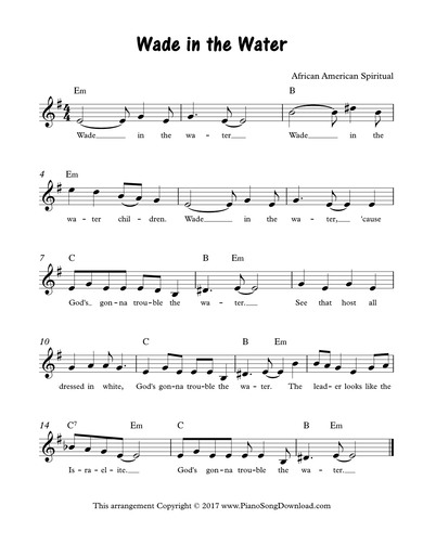 Wade in the Water: free lead sheet with melody, chords and lyrics