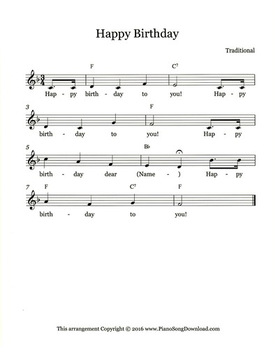 Happy Birthday Free Lead Sheet With Melody Lyrics And Chords