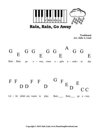 Rain Rain Go Away - Free pre staff piano sheet music with letters
