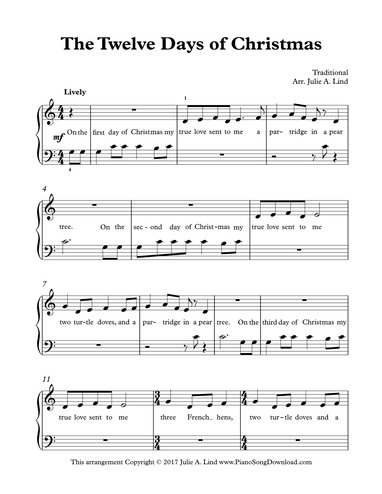 photo regarding 12 Days of Christmas Song Lyrics Printable identify The 12 Times of Xmas: absolutely free very simple, starter, Xmas