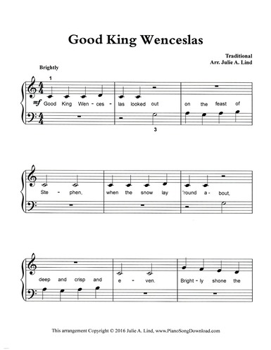good king wenceslas: free easy piano sheet music for beginners with lyrics  piano song download
