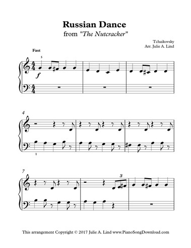 Russian Dance from The Nutcracker: free easy Christmas piano