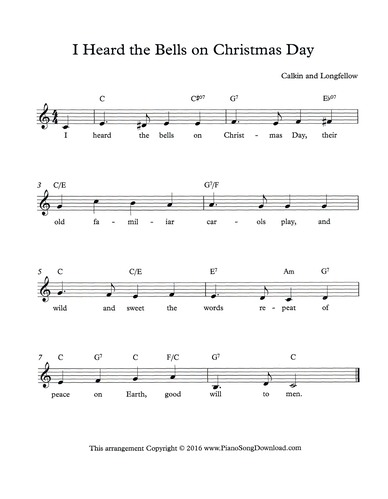 download and print i heard the bells on christmas day lead sheet - I Heard The Bells On Christmas Day Lyrics