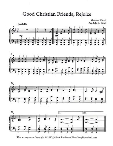 Good Christian Friends, Rejoice - Free Christmas Piano Sheet Music