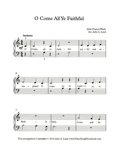 graphic relating to Free Printable Christmas Sheet Music for Piano named O Arrive All Ye Devoted: absolutely free straightforward Xmas piano sheet