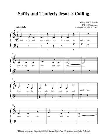 Softly And Tenderly Jesus Is Calling Free Easy Hymn Sheet