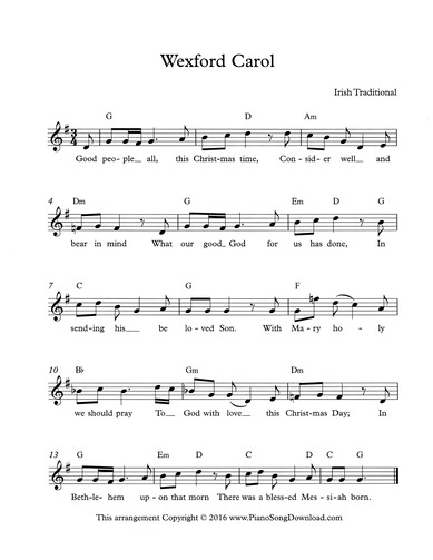 Wexford Carol Free Christmas Lead Sheet With Melody Chords And Lyrics