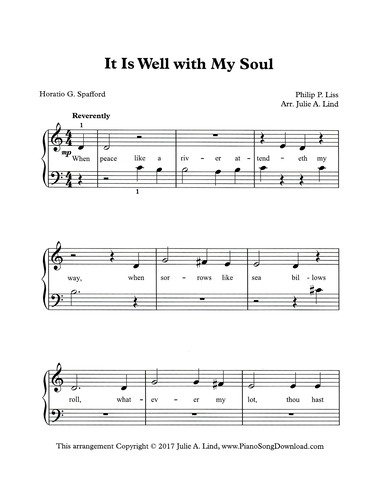 It is Well with my Soul, When Peace like a River: free easy hymn
