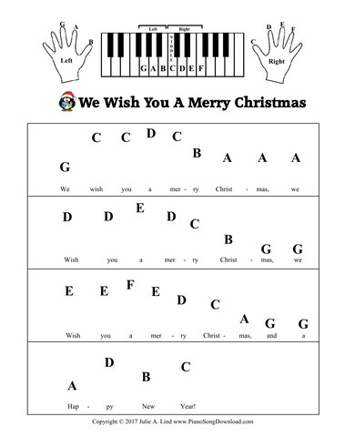 We Wish You A Merry Christmas Free Pre Staff Piano Sheet Music With