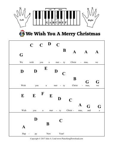 We Wish You A Merry Christmas Free Pre Staff Piano Sheet