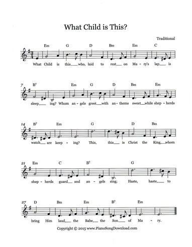 What Child Is This Free Christmas Lead Sheet With Melody Chords
