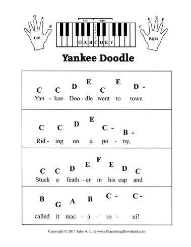 piano sheet music with letters yankee doodle pre staff piano sheet for beginners 12748 | wpd2fbcb34 05 06