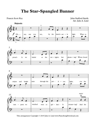 The Star Spangled Banner Easy Piano Sheet Music With Lyrics