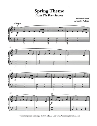 Spring Theme Simplified Piano From Vivaldis The Four Seasons