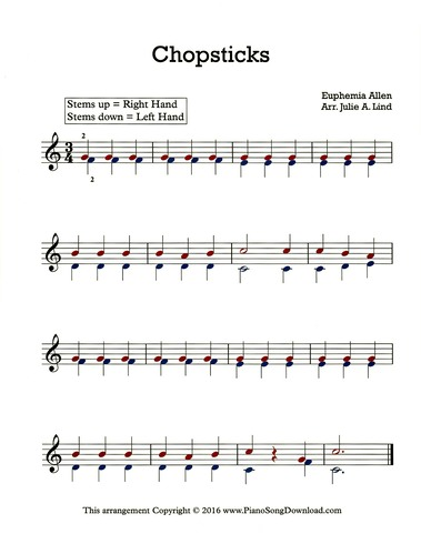 Chopsticks sheet music, free, easy piano