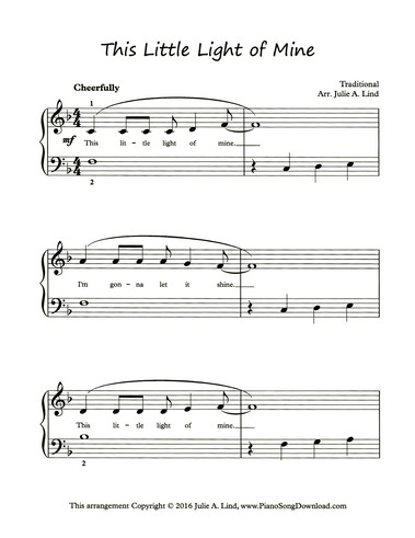 This Little Light Of Mine Free Level 2 Piano Hymn Sheet