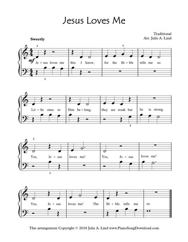 picture regarding Piano Sheet Music for Beginners Popular Songs Free Printable titled Jesus Enjoys Me: no cost Issue1 simple piano hymn sheet new music with