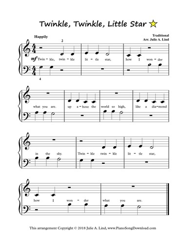 Twinkle Twinkle Little Star: Free easy piano sheet music