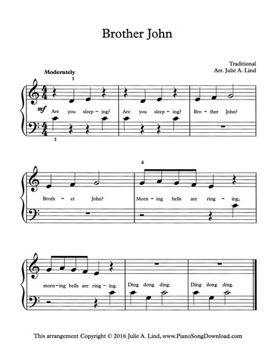 Brother John: free easy sheet music for piano with lyrics