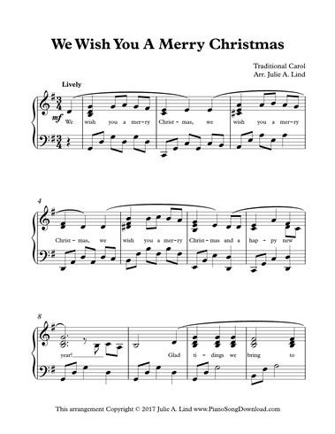 We Wish You A Merry Christmas: free intermediate piano sheet music with lyrics