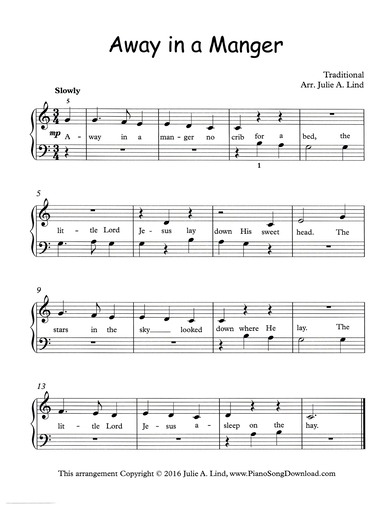 image regarding Lyrics to Away in a Manger Printable named Absent within a Manger, no cost simple Xmas piano sheet songs with