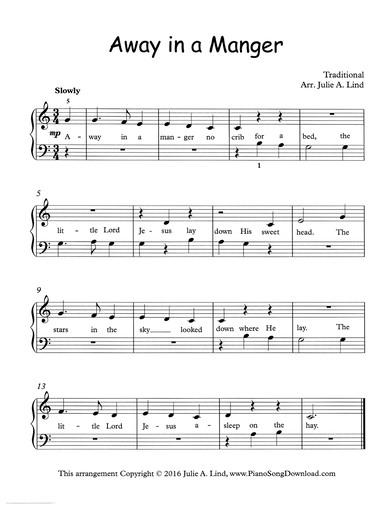 away in a manger piano sheet music free